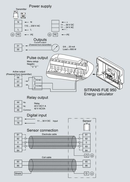 Схема показывает кабель преобразователя между преобразоватлем сигналов и соответсвующим излучателем и электронные...